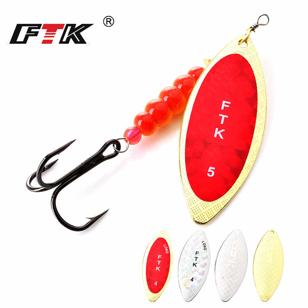 FTK 1PC 1 #2 #3 #4 #5 # Spinner bait Con Perline Con Treble Ganci per il Richiamo Pike Pesca