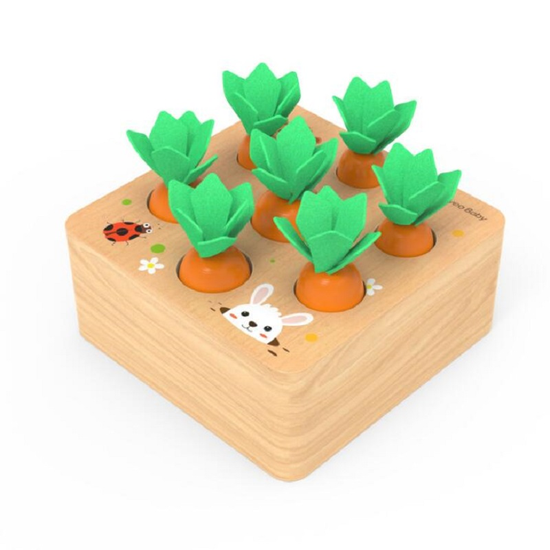 Pulling carrot toy children's puzzle spell carrot game 2-3-4-5-year-old girl boy gift,Teaches count and Fine Motor Skills