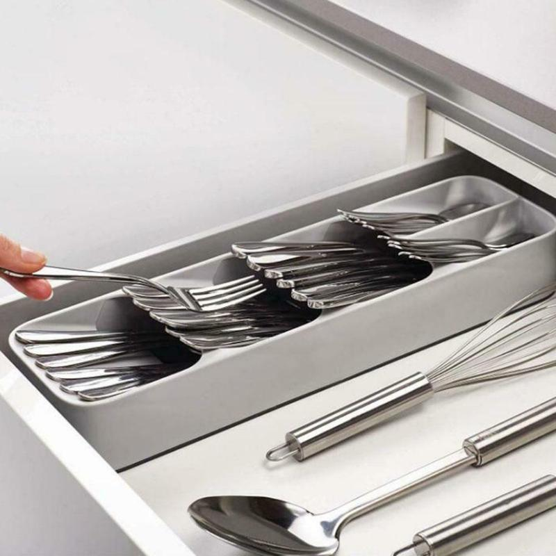 Kitchen Drawer Organizer Tray Spoon Cutlery Separation Finishing Storage Box Cutlery Kitchen Storage Organization