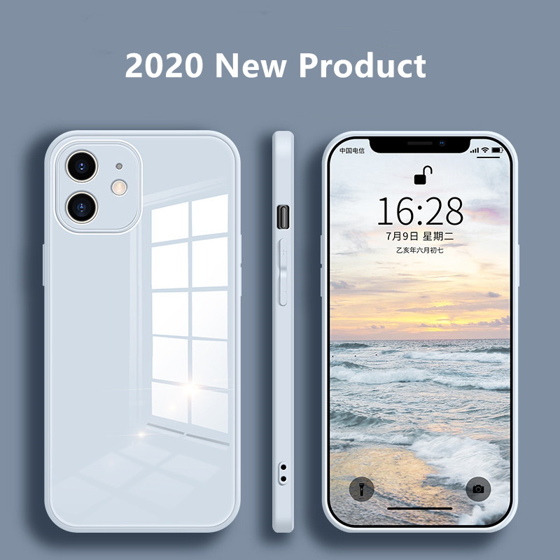 Liquid-Glass-Case Protective-Case Back-Cover iPhone 12 Anti-Fall 8-Plus for 11/Pro-x-xs/Max/..