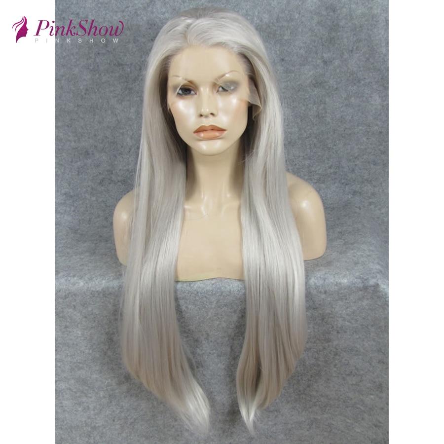 Pinkshow серый парик длинные прямые волосы синтетический парик фронта шнурка Glueless термостойкие волокна парики для женщин