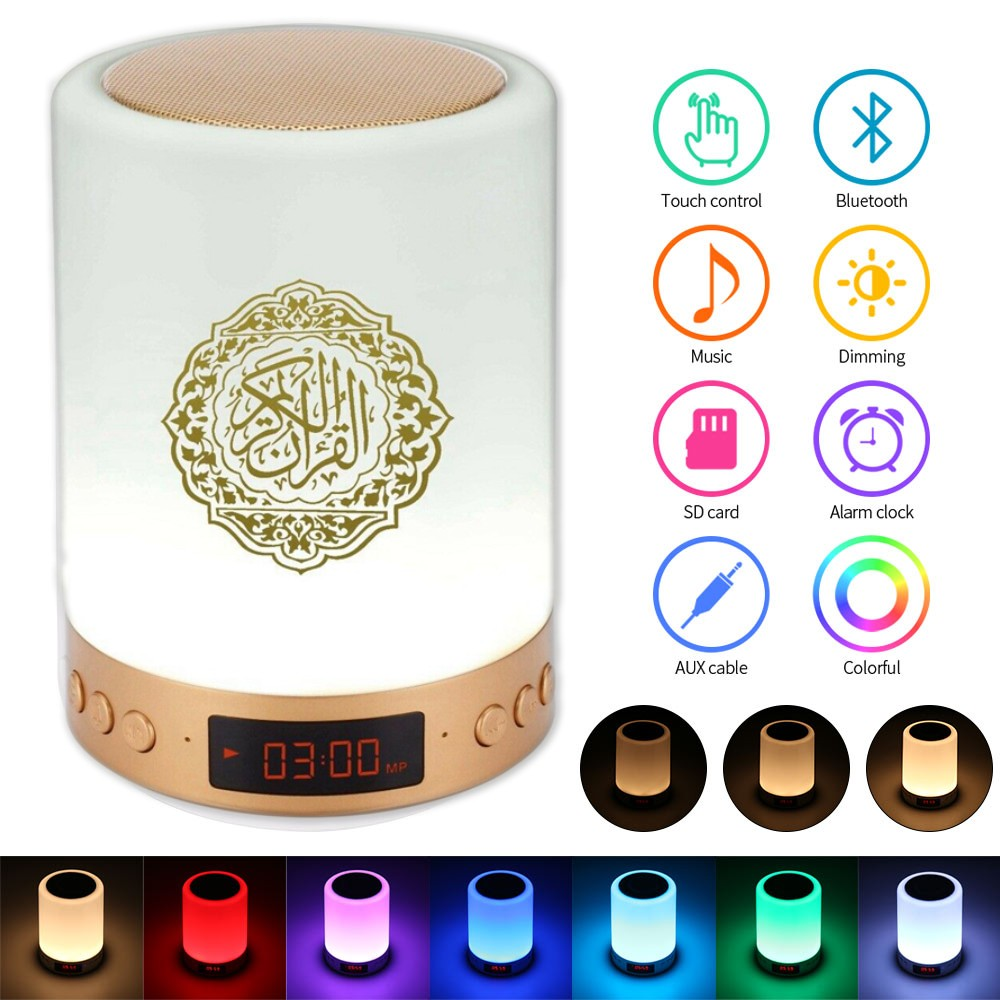 16gb de memória toque alcorão alto-falante lâmpada sem fio bluetooth mp3 player rádio digital muçulmano presente led azan relógio luz da noite