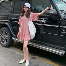 INS Style 2019 Summer Women Korea Office Shirt Refreshing Pink Mini  Doll Dress Short Sleeve