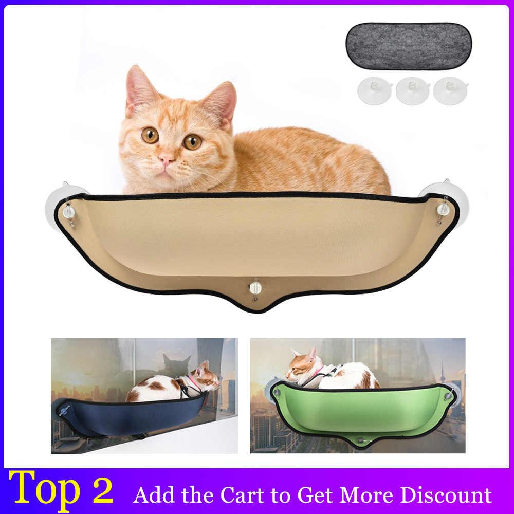 귀여운 애완 동물 교수형 침대 창 마운트 애완 동물 고양이 해먹 고양이 써니 좌석 해먹 편안한 고양이 애완 동물 침대 긴 봉제 부드러운 애완 동물 침대