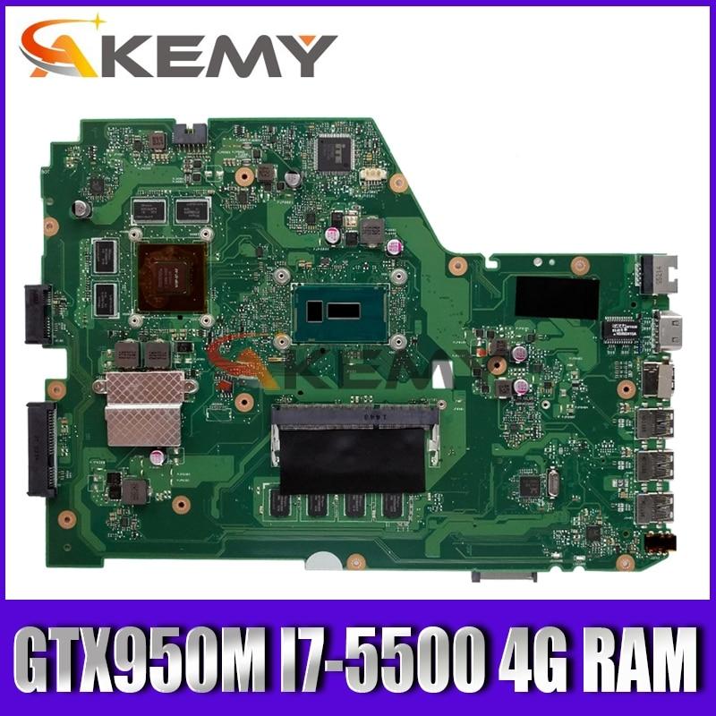 X751LX Motherboard For Asus X751L K751L X751LK X751LX Laptop Motherboard X751LX Mainboard  GTX 950M I7-5500 4G RAM