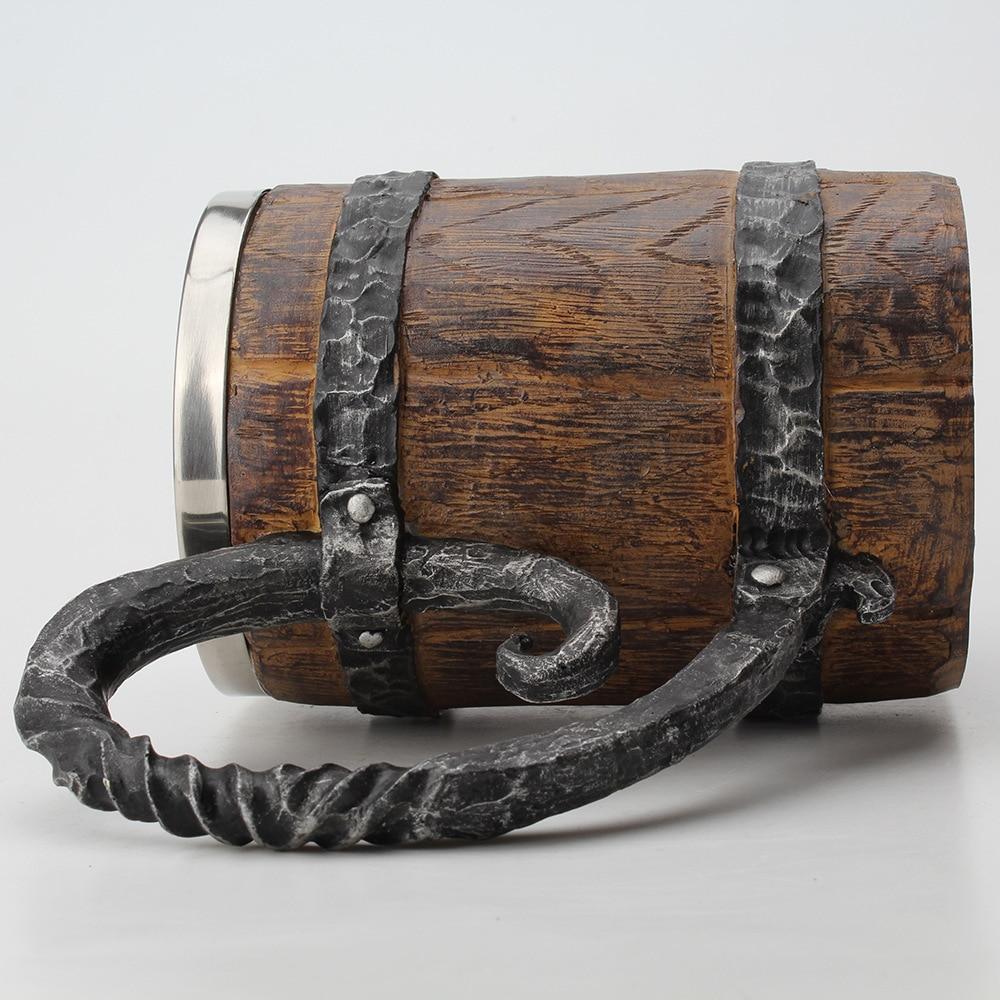 Wooden barrel Stainless Steel Resin 3D Beer Mug Goblet Game Tankard Coffee Cup Wine Glass Mugs 650ml BEST GOT Gift 5