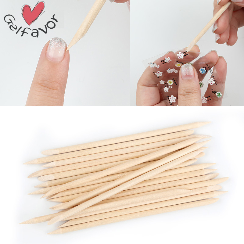 Gelfavor Orange Sticks Wooden Cuticle Pusher 100PCS/Lot Set For Cuticles Manicure Nail DIY Design Nail Art Cuticle Remover