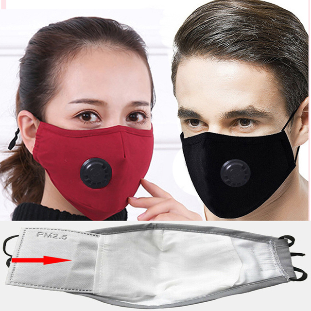 for Men Women PM2.5 Mouth Cotton Mask Anti-Haze Anti Pollution Mask  Activated carbon filter respirator In stock