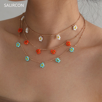цена на Salircon Korean Daisy Flower Choker Necklace For Women Gold Color Clavicle Chain Short Necklace Fashion Jewelry 2020 Bead Collar