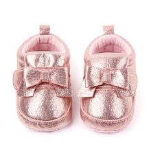 Shoes Glitter Princess-Bow Baby-Girl Sneakers New Bowknot Sole PU Lace-Up