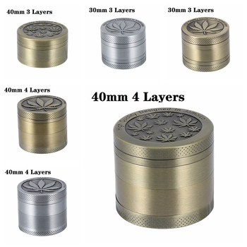 1PC 30/40MM 3/4-layer Metal Tobacco Grinder Zinc Alloy Smoke Cracker Delicate Leaves Pattern Tobacco Grinding Machine for Home