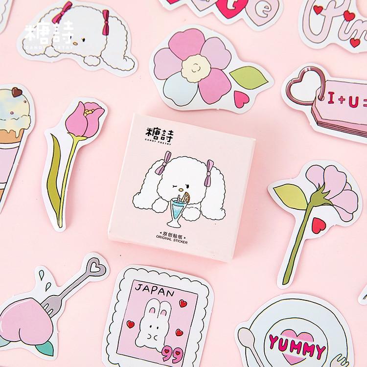 Mohamm 45PCS Boxed Stickers Pink Cute Rabbit Creative Kawaii Cartoon Animal Sticker Flakes Scrapbooking Gift Girl School Supplie