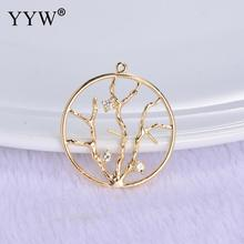 Cubic Zirconia Brass Pendant Life Tree Trendy Charms Necklace Jewelry Accessory Making Man Women Retro Style