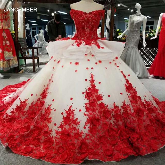 LSS037 אדום 3D פרחים באיכות גבוהה שמלות מהיר חינם מסין מכתף v צוואר תחרה עד בחזרה כדור שמלת שמלת ערב
