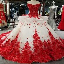 LSS037 kırmızı 3D çiçekler yüksek kaliteli elbiseler çinden hızlı kargo kapalı omuz v yaka lace up geri balo elbisesi abiye elbise