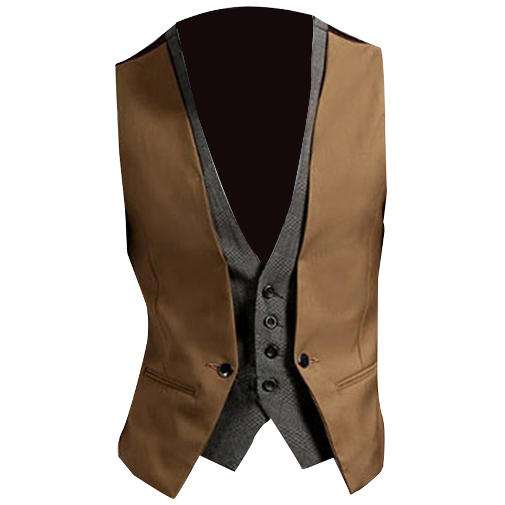 Men Formal Waistcoat Vest Business Solid Color Single Button Vest Gilet Fake Two-pieces V Neck Casual S-lim Chalecos Para Hombre