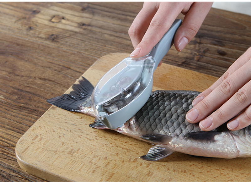 Easy To Clean Plastic Fish Cleaning Tool Kitchen Tool With Lid Cooking Utensils Fish Scale Manual Scraper Hangable,