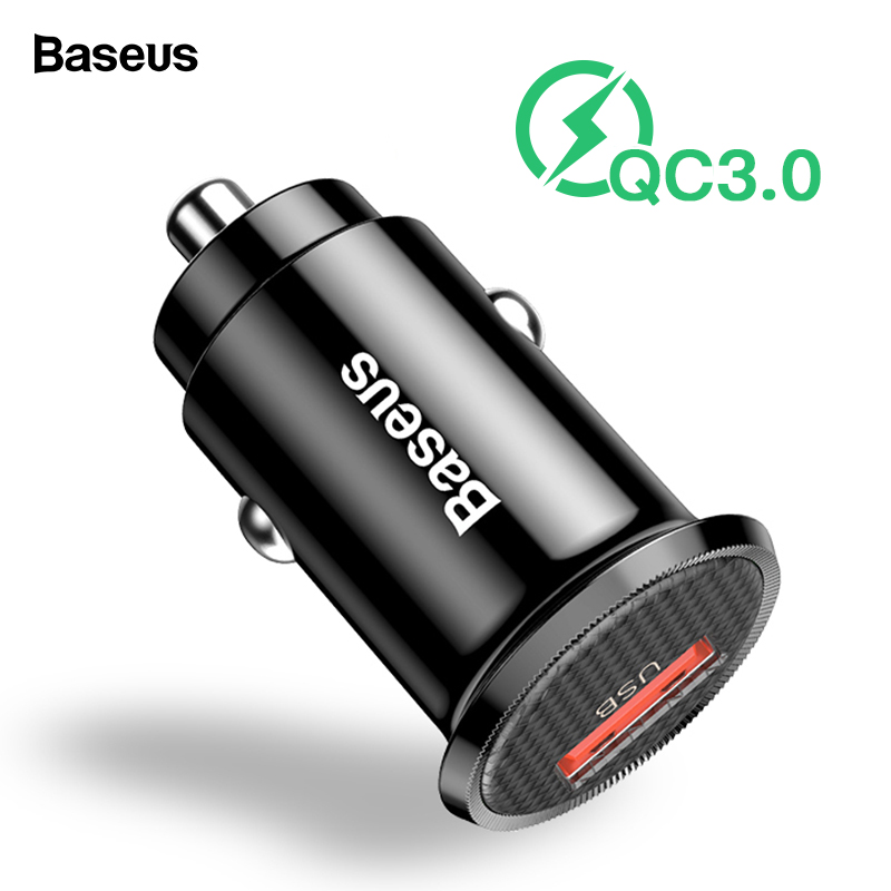 Baseus Mini USB Car Charger Quick Charge 3.0 Car Phone Charger For iPhone Samsung Xiaomi mi QC3.0 QC Fast Mobile Car Charging