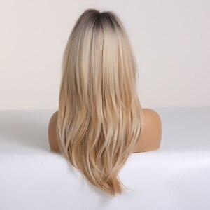 Image 3 - EASIHAIR siyah sarışın Omber peruk patlama ile sentetik saç peruk kadınlar için orta uzunlukta katmanlı Cosplay peruk isıya dayanıklı