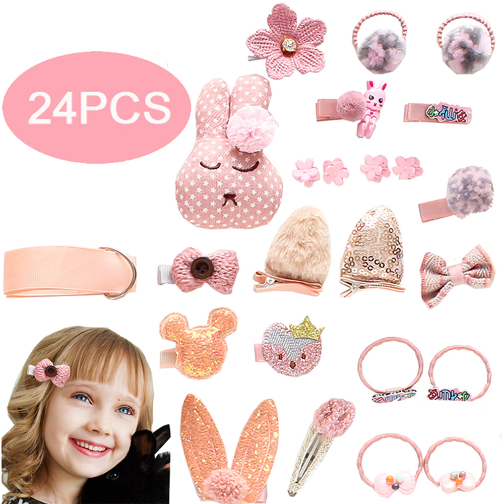 24pcs Baby Bow Hair Clips For Girls Children Hairpins Hair Broches Accessories Color Flower Barrettes Cute Pet Kids Ribbon Clip