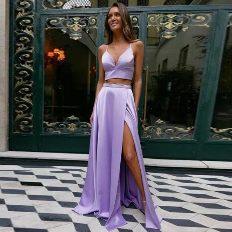 Lavender Long Skirts Zipper Waistline Sexy Side Slit Satin Long Formal Party Skirts For Women Maxi Skirt Custom Saia Longa