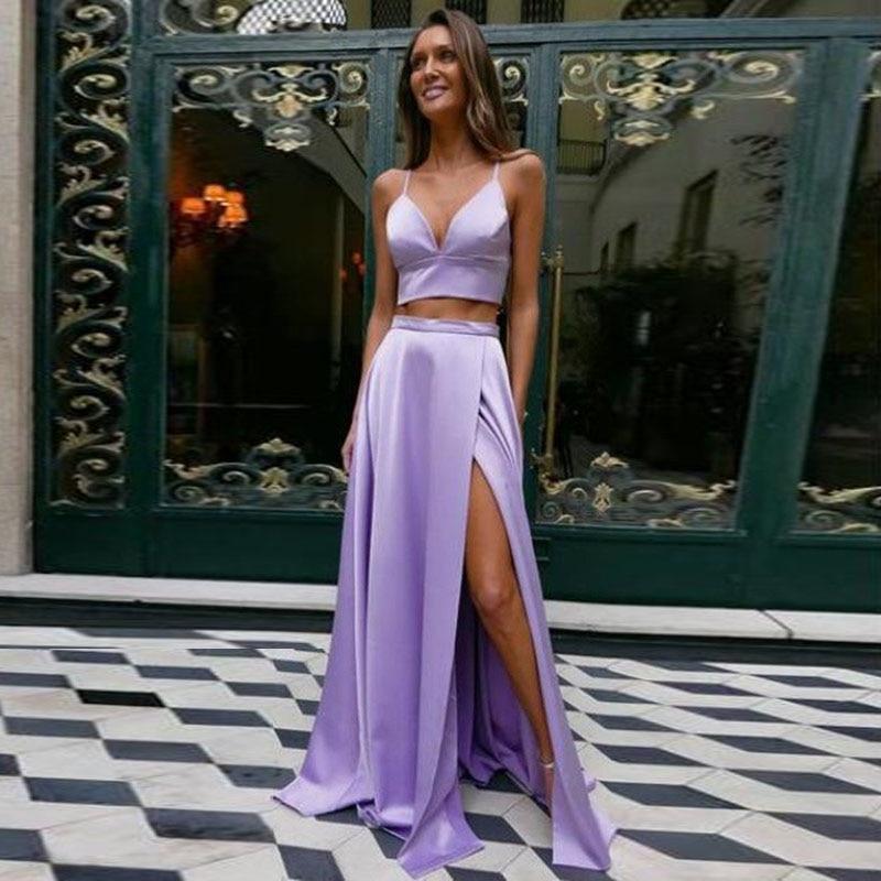 Lavender Long Skirts Zipper Waistline Sexy Side Slit Satin Long Formal Party Skirts For Women Maxi Skirt Custom Saia Longa