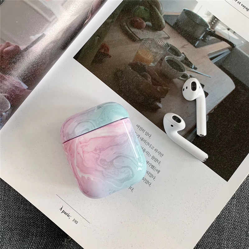 Funda dura de mármol de ágata de lujo para Airpods de Apple funda protectora para auriculares inalámbricos Bluetooth funda de caja de carga bolsas