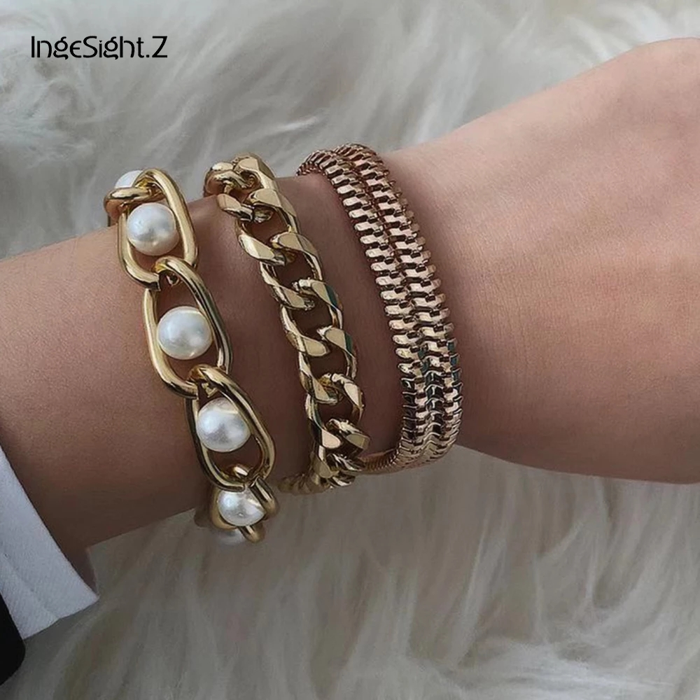3Pcs/Lot Punk Cuban Thick Bracelet Bangle Chunky Heavy Metal Imitation Pearl Bracelet Wrist Chain Jewelry