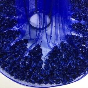 Image 2 - ブルー 3d生地のウェディングドレス 2020 新 5 ヤードアフリカのレース生地高品質のフランスのネットレース 3d花SH10522
