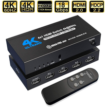 2021 en iyi 4K HDMI anahtarı 2.0 desteği RGB 4:4:4 HDR HDMI anahtarı 4K 60Hz HDMI 2.0 anahtarı uzaktan IR UHD 4 portlu HDMI Switch Switcher