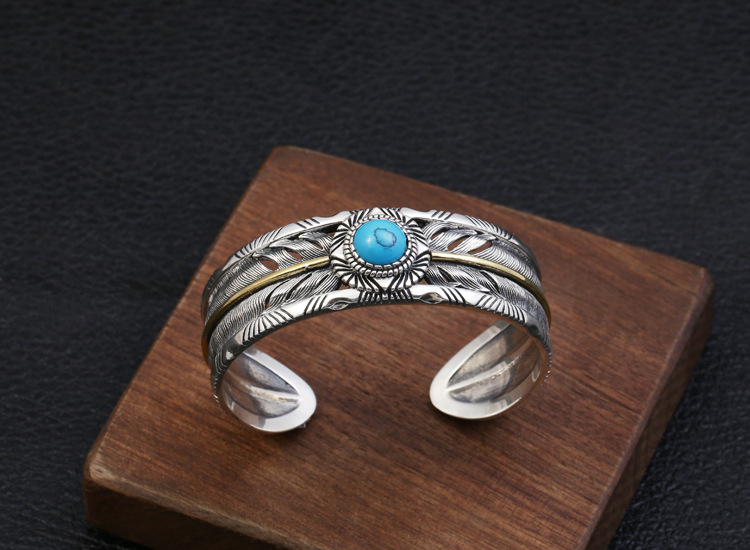 925 sterling Thai silver Hollow out Ethnic Indian Style Inlaid Turquoise Bracelet Bangle Jewelry Men Women Bangle
