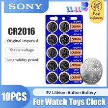 Sony bateria de lítio original 100% CR2016 3V, bateria de botão 2016 ECR2016 GPCR2016 para chave de carro, relógio, brinquedo e controle remoto com 10 peças/lote