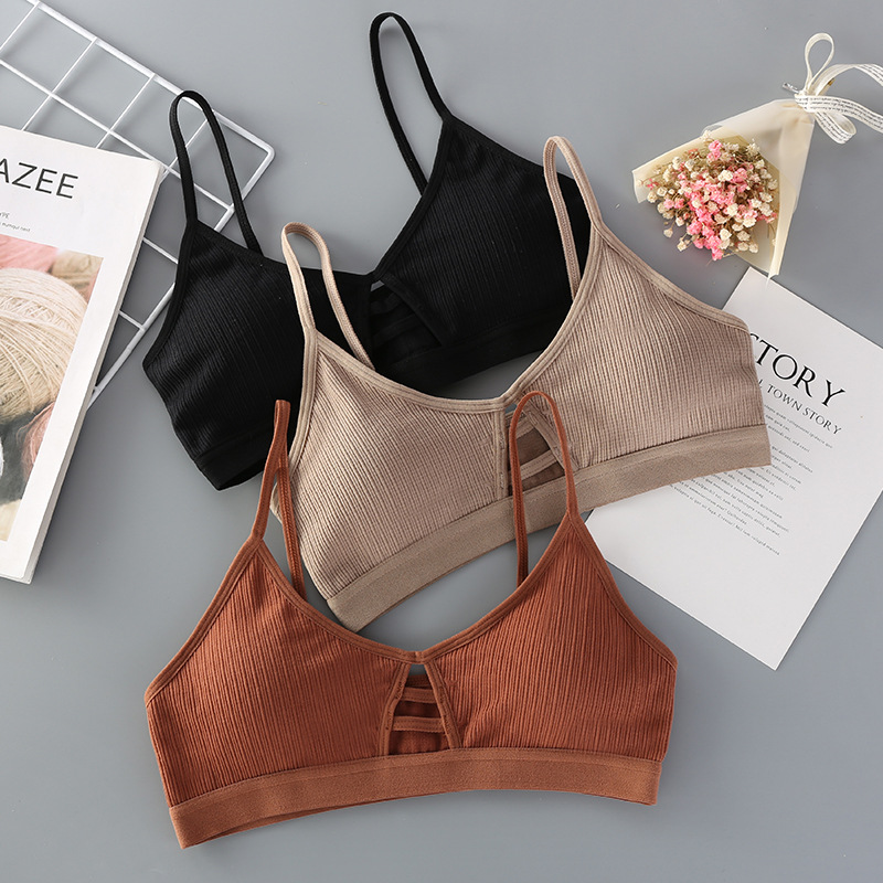 GUMPRUN Thin Strap Bralette Sexy Lingerie Seamless Hollow Out Soft Bras For Women Wireless Push Up Bra Comfortable Underwear