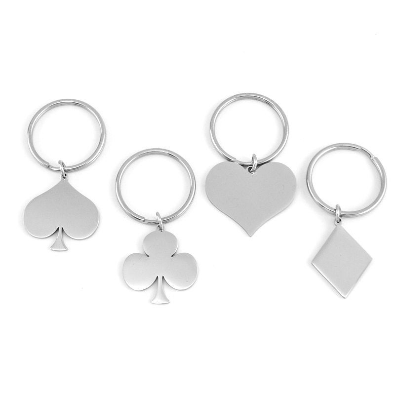 Spades. Clubs Playing Card Keyring Diamonds Poker Hearts Ace
