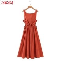 Tangada 2021 Summer Women Sexy Backless Beach Dress Sleeveless Ladies Long Dress Vestidos QB51 3