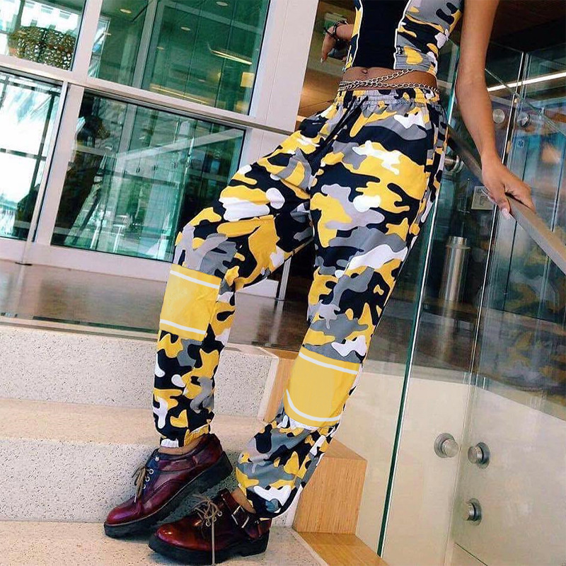 OSLLENLLA Yellow Camouflage Jogger Pants Women High Camo Jogger Trousers Ladies Streetwear Camo Pants Loose Fit