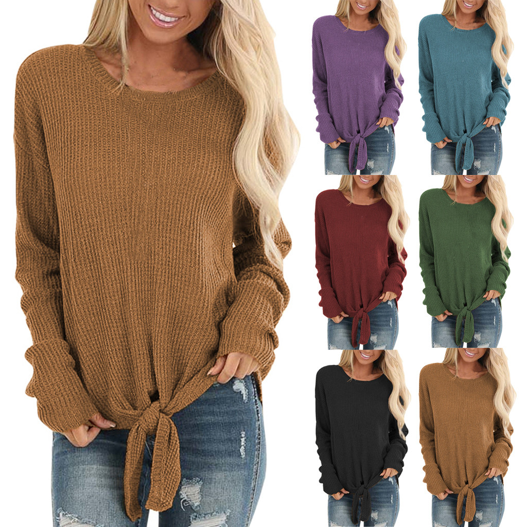 Tops Fashion Womens Autumn Casual O-Neck Long Sleeve Knot Waffle Knit Tunic Shirt Cute Solid Loose Shirts Tops 2020