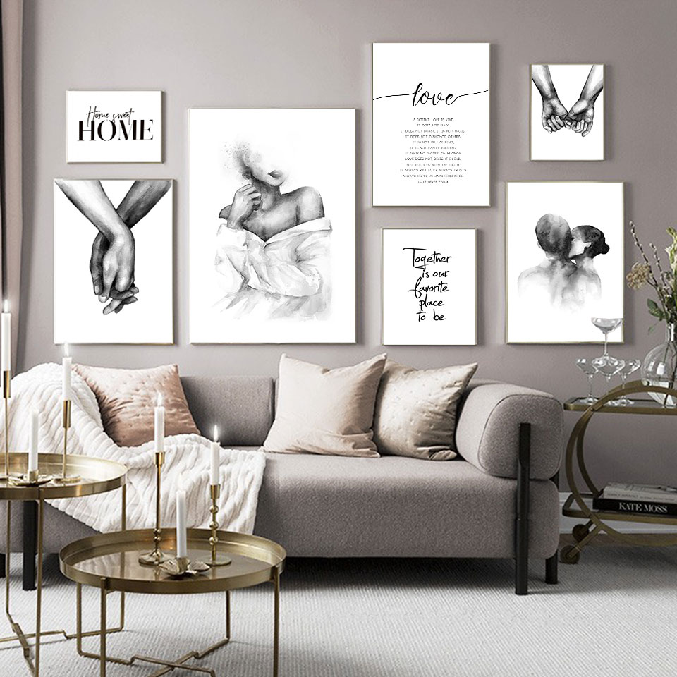 Nordic Black White Shoulder Kiss Hand Wall Art Canvas Poster Minimalist Print Love Quotes Painting Picture for Living Room Decor