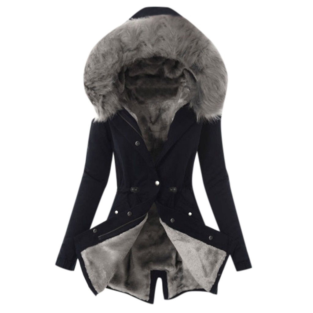 Parka Jacket Hooded-Pockets Female Coat Warm Winter Faux-Fur Mujer Slim Thick Chaquetas title=