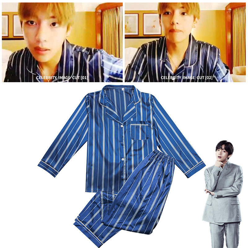 Kpop Bangtan Boys Blue Striped Two Piece Suit Map Of The Soul Persona Boy With Luv JIMIN JIN SUGA J-HOPE Pajamas LJJ823