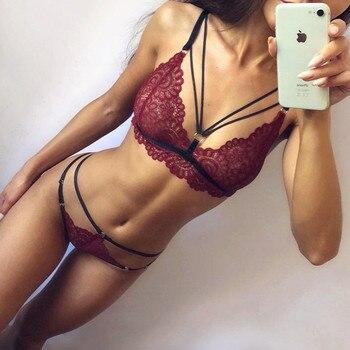 Σέξι Ερωτικά Ρομαντικά Γυναικεία Εσώρουχα Διάφανη Δαντέλα Καλτσοδέτα Στρίνγκ Καυτό Θηλυκό Σετ