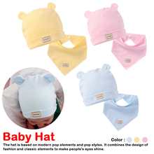 Newborn Infant Elastic Headscarf Double Layer Cotton Baby Caps&Hats With Bibs Set Pink Yellow And Sky Blue