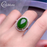 CoLife Jewelry 925 Silver Jasper Ring for Party 12mm*16mm Natural Jasper Silver Ring Birthday Gift for Wife Silver Jade Ring