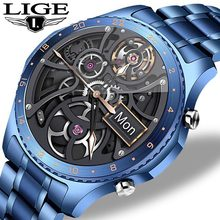 LIGE 2021 New Full circle touch screen Mens Smart Watches IP67 Waterproof Sports Fitness Watch Man Luxury Smart Watch for men