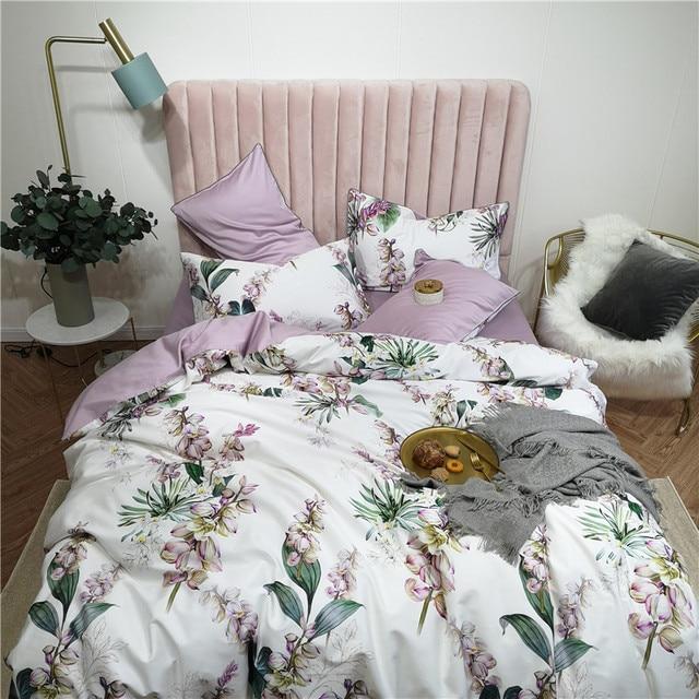 Egyptian Cotton Bedding Set Lilac Floral