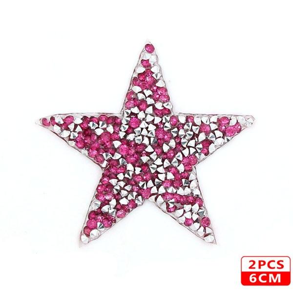 Стразы со звездами, смешанные размеры, нашивки, нашивки с вышивкой, термо-Стикеры для одежды, 5 видов цветов, блестки, нашивки для одежды, сделай сам - Цвет: 6cm Rose Pink 2pcs
