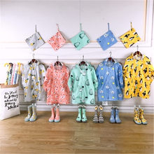 New Kids Cartoon Waterproof Rain Coat Polyester Boy Clothes Cute Girls Jacket Children's Schoolbag Raincoat Baby Kids Clothes(China)