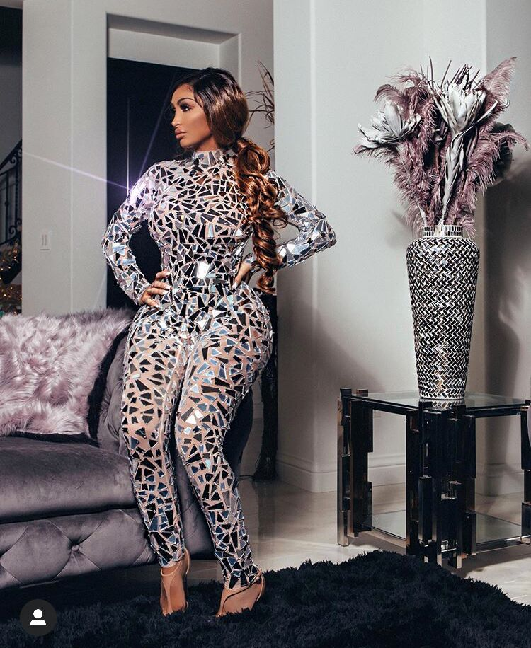 High Elastic Fashion Long Sleeve Mirrors Beading Sequined Mesh  Jumpsuit Nightclub DJ Party Jumpsuit