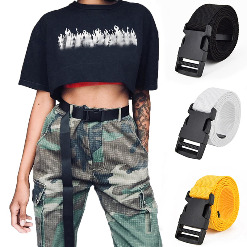 Fashionable Canvas Belt Men Women Casual Female Waist Belts With Plastic Buckle Solid Color Long Belt
