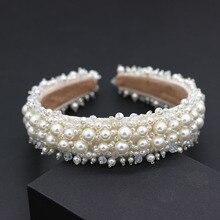 ファッション多彩なヘッドバンド新小粒サイズ真珠の花キャットウォークヘッドバンド気質ボール野生人格ヘッドバンド 734ヘアジュエリー